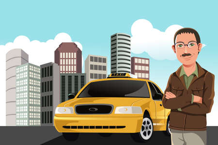 Een illustratie van een taxichauffeur Stock Illustratie