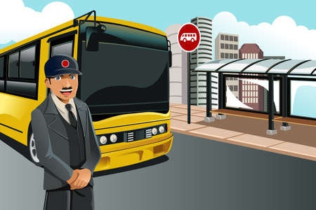 A illustration of a bus driver standing in front of the bus at a bus terminal Vector