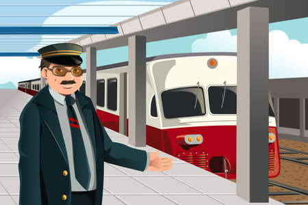 worker cartoon: Una ilustraci�n de un conductor de tren en la estaci�n de tren Vectores