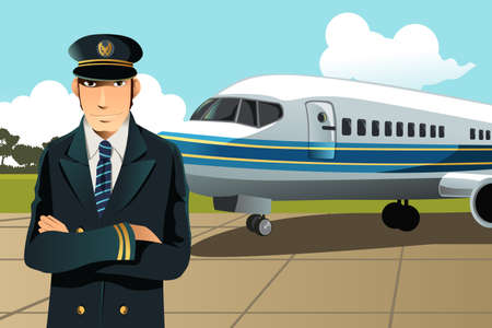 A illustration of an airplane pilot in front of the plane at the airport