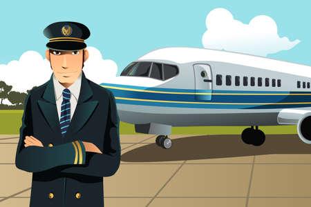 piloto: Una ilustración de un piloto de avión en el frente del avión en el aeropuerto Vectores