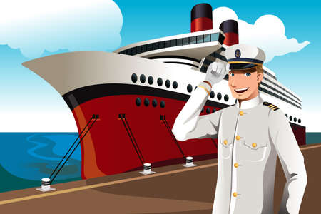 captain ship: A illustration of a sailor in front of a big ship parked at the harbor