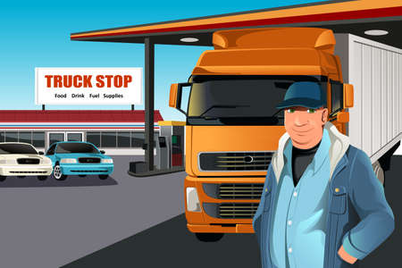 semi truck: Una ilustraci�n de un conductor de cami�n en una parada de camiones Vectores
