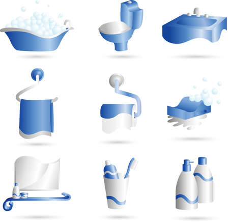 A illustration of icons of things that can be found in bathroom Stock Vector - 12145057