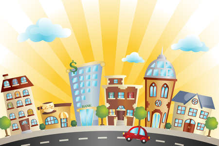 city building: A illustration of colorful cartoon cityscape Illustration