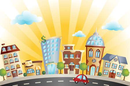 Une illustration du paysage urbain coloré dessin animé Banque d'images - 12145078