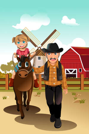 A vector illustration of a little girl riding a horse with her grandfather