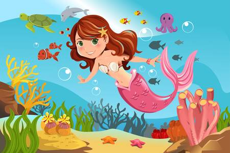 A vector illustration of a mermaid swimming underwater in the ocean Vector