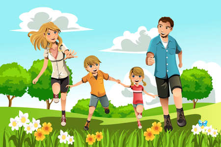 familia parque: Una ilustraci�n vectorial de una familia corriendo en el parque