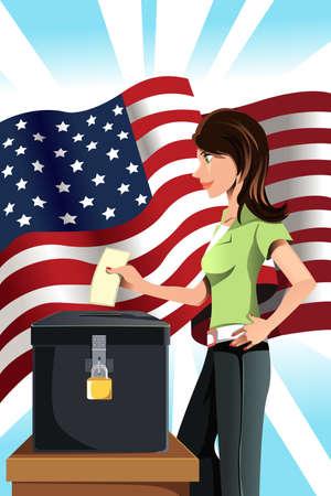 투표 상자에 그녀의 투표를 삽입하는 여자의 벡터 일러스트 레이 션