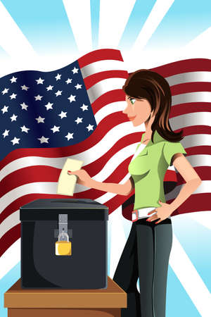 A vector illustration of a woman inserting her votes into the ballot box Vector