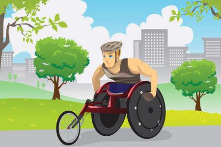 車椅子トレーニング屋外で運動選手のベクトル イラスト  イラスト・ベクター素材