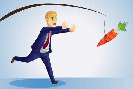 zanahoria caricatura: Una ilustración vectorial de un hombre de negocios tratando de llegar a una zanahoria colgando de un palo delante de él