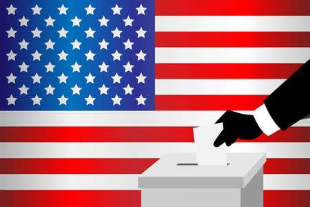 투표함에 자신의 투표 용지를 삽입 투표 남자의 벡터 일러스트 레이 션