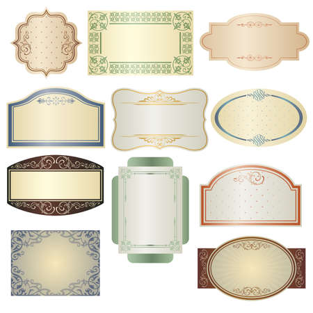 A vector illustration of different vintage frames Ilustração