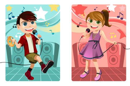performing: A vector illustration of kids singing karaoke
