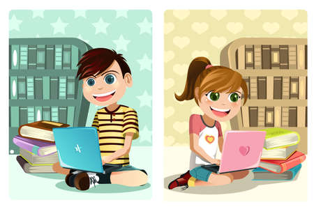 laptop: A vector illustration of a boy and a girl studying using laptop