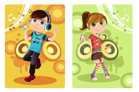 escuchando musica: Una ilustración vectorial de un niño y una niña de escuchar música