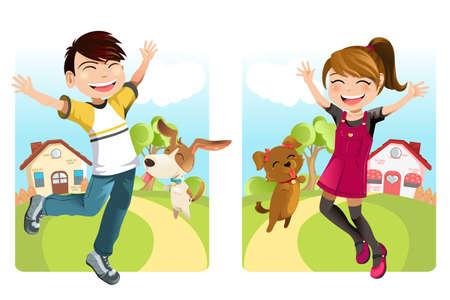 Een vector illustratie van een jongen en een meisje met een hond