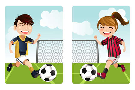 kids playing outside: A vector illustration of a boy and a girl playing soccer