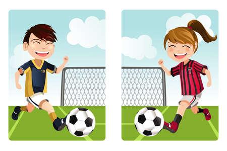 balon soccer: Una ilustración vectorial de un niño y una niña jugando al fútbol