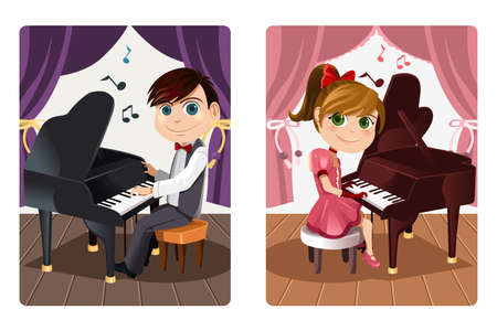 A vector illustration of a boy and a girl playing piano