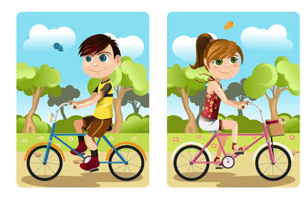 A vector illustration of a boy and a girl riding bicycle