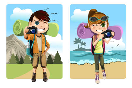 A vector illustration of a boy and a girl traveling and camping while taking pictures