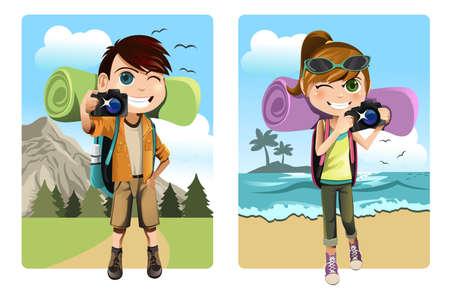 Travel Backpack: Una ilustraci�n vectorial de un ni�o y una ni�a viajando y acampando, mientras que la toma de fotograf�as