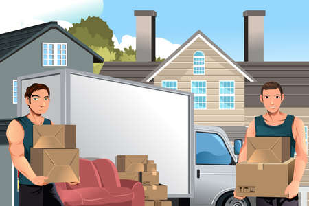 relocate: A vector illustration of moving men carrying boxes in front of their truck Illustration