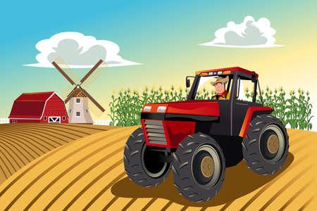 Una illustrazione vettoriale di un agricoltore guida un trattore a lavorare nella sua fattoria