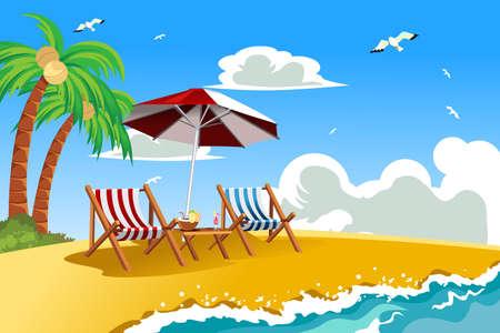 ombrellone spiaggia: Una illustrazione vettoriale di sedie a sdraio sulla spiaggia tropicale