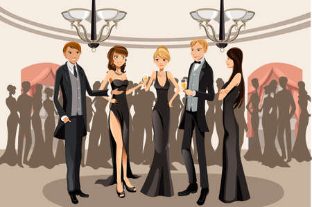 formal dress: A vector illustration of people in a banquet party