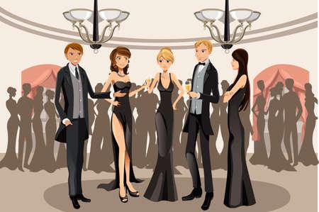 guests: Una ilustraci�n vectorial de la gente en una fiesta de banquetes Vectores