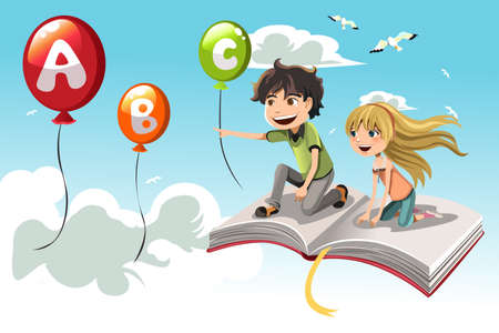 cartoon reading: A vector illustration of two kids learning alphabet