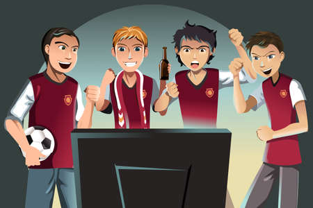 A vector illustration of soccer fans watching the game on the television Vector