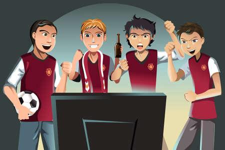 Een vector illustratie van voetbalfans kijken naar het spel op de televisie