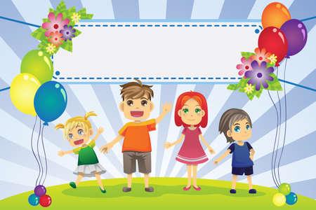 testvérek: Vektoros illusztráció szórakoztató családi banner