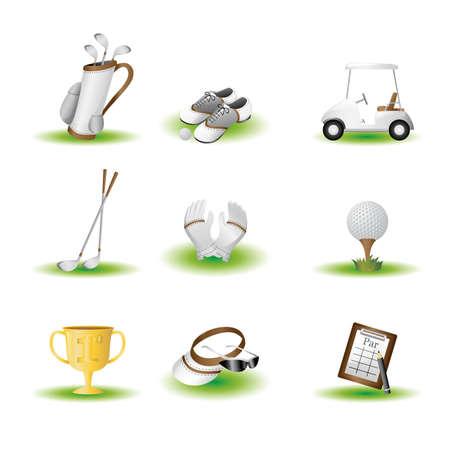 Ein Vektor-Illustration des Golfsports verbundene Symbole