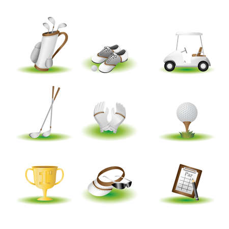 A vector illustration of golf related icons