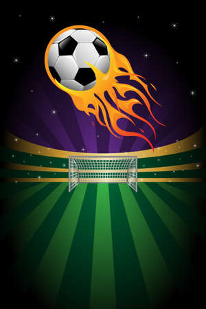 A vector illustration of flaming soccer background Vector