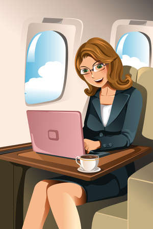 A vector illustration of a businesswoman working on her laptop in the airplane Vectores