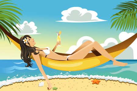 Een vector illustratie van een mooie vrouw die ontspannen op een hangmat op het strand