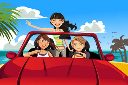 A vector illustration of three female friends having fun in a car driving near a beach Ilustracja