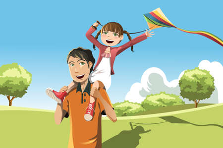 A vector illustration of a father and her daughter playing kite in the park