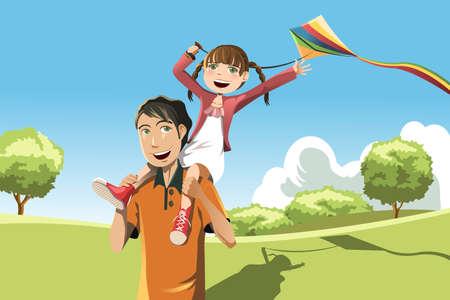 Una ilustración vectorial de un padre y su hija jugando cometa en el parque
