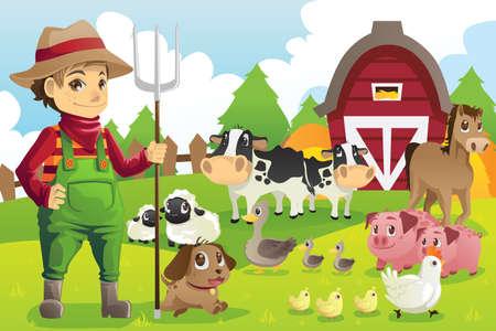 Een vector afbeelding van een boer op zijn boerderij met een heleboel boerderijdieren