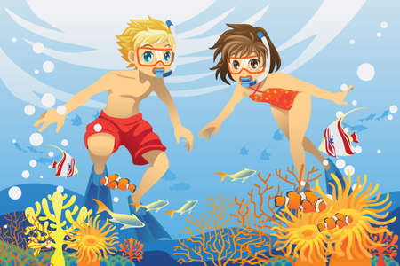 A vector illustration of two kids swimming and diving underwater in the ocean Vector
