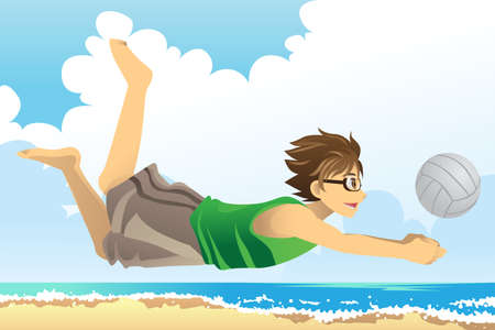 A vector illustration of a man playing beach volleyball Stock Vector - 12349606