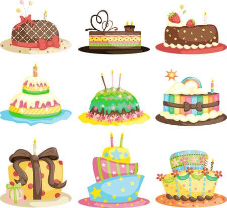 torte compleanno: Una illustrazione vettoriale di diverse torte di compleanno gourmet Vettoriali